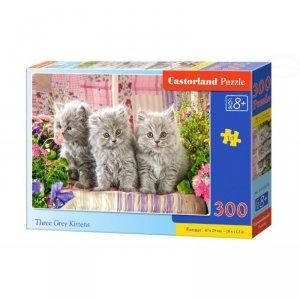 Puzzle three grey kittens 300