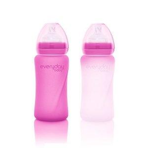 Szklana butelka ze smoczkiem M reagująca na temperaturę, 240 ml, wiśniowa, Everyday Baby