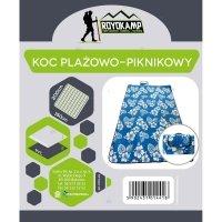 Koc Plażowo Piknikowy 200X150 Niebieski Kwiaty Royokamp#H1