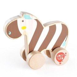 Drewniana zebra na kółkach dla malucha #T1