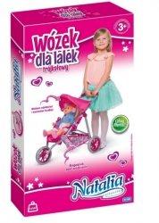 trójkołowy Wózek spacerowy dla Natalia+Lalka Gratis Niebiesk