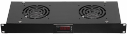 Netrack panel wentylacyjny 19 2F z przewodem i termostatem, czarny