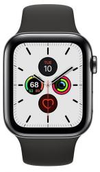 Zegarek Series 5 GPS+Cellular, 44mm koperta ze stali nierdzewnej w kolorze gwiezdnej czerni z paskiem sportowym w kolorze czarny