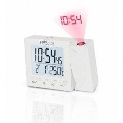 Budzik cyfrowy Explore Scientific  RC z projektorem i wskazaniem temperatury w pomieszczeniu, biały