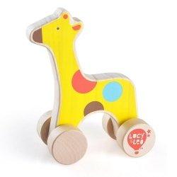 Drewniana żyrafa na kółkach dla malucha #T1