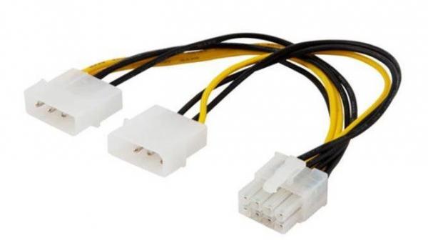 Kabel zasilający SAVIO 2x IDE Molex 4-pin (wtyk)- 8-pin EPS 0.18m. SAVAK-18