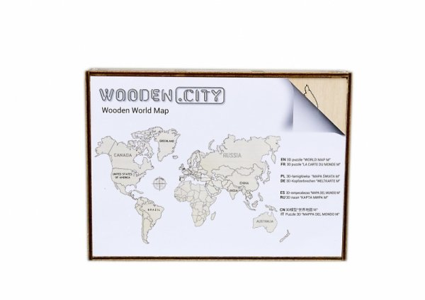 Drewniane puzzle 3D Wooden.City - Mapa Świata M  #T1