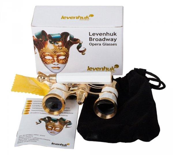 Lornetka teatralna Levenhuk Broadway 325N (biały lorgnon z oświetleniem LED)