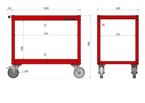 Wózek warsztatowy ciężki P-2-08-02 wymiary