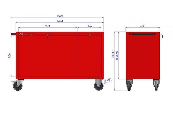 Wózek narzędziowy MEGA z 9 szufladami PM-215-18