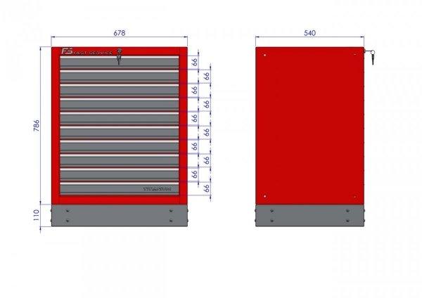 Szafka warsztatowa z 10 szufladami – T-10   - wymiary