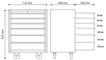 Szafka narzędziowa z 6 szufladami N-1-04-02
