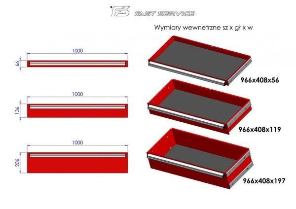 Wózek warsztatowy MEGA z 13 szufladami PM-212-15