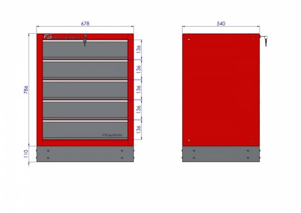 Szafka warsztatowa z 5 szufladami – T-15   wymiary