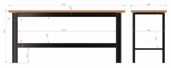 N-3-00-01 STÓŁ WARSZTATOWY PODSTAWOWY  BLAT SKLEJKA 40mm (SZER. BLATU 1960 mm)