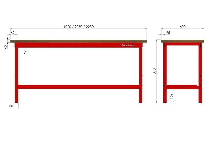Stół warsztatowy podstawowy 1920x600mm wymiary