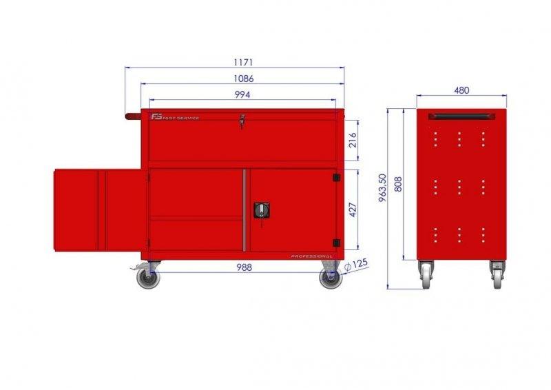Wózek narzędziowy TRUCK z 2 szufladami i drzwiami PT-231