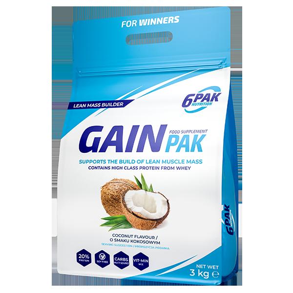 6PAK Nutrition Gain PAK 3000g smak kokos