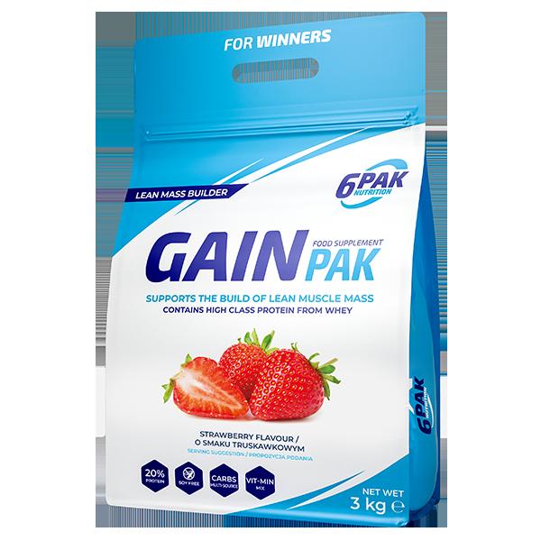 6PAK Nutrition Gain PAK 3000g smak truskawka