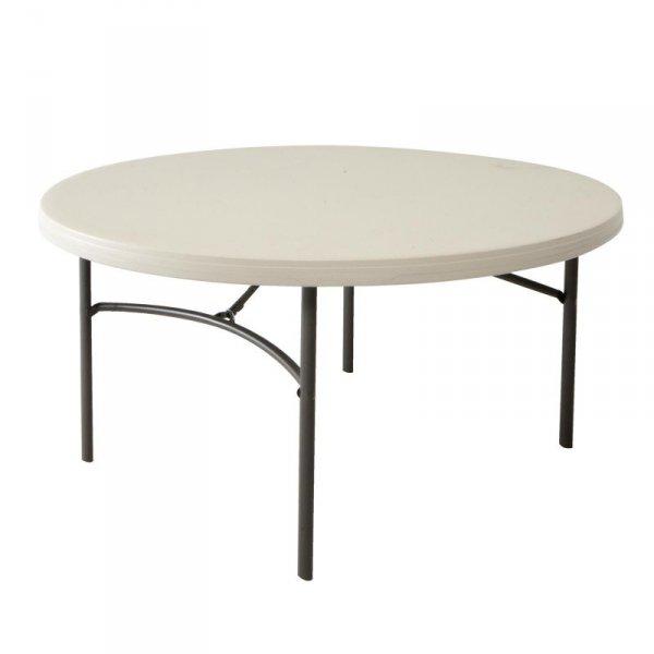 Okrągły komercyjny stół składany 152 cm (migdałowy) 80121