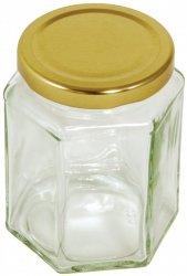 Sześciokątny słoik ze złotą pokrywką - 340 g Tala