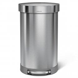 Kosz na śmieci 45 L pedałowy, półokrągły - stal FPP simplehuman