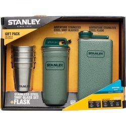 Zestaw kieliszków stalowych z piersiówką ADVENTURE - zielony / Stanley
