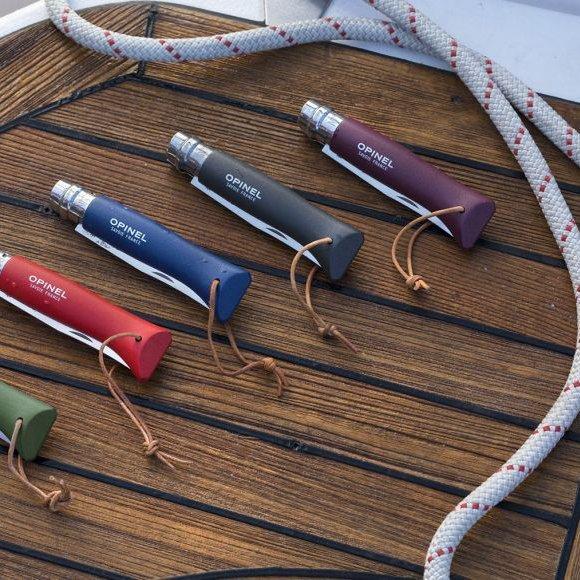 Nóż Opinel Colorama 08 inox grab bordowy z rzemieniem