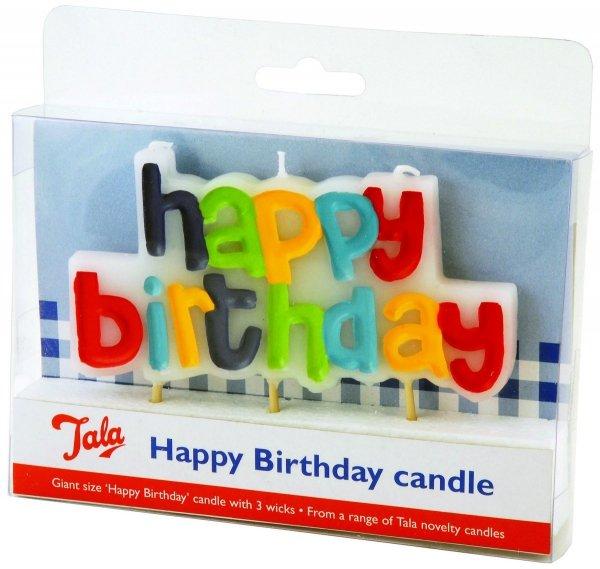 Świeczka na tort HAPPY BIRTHDAY Tala