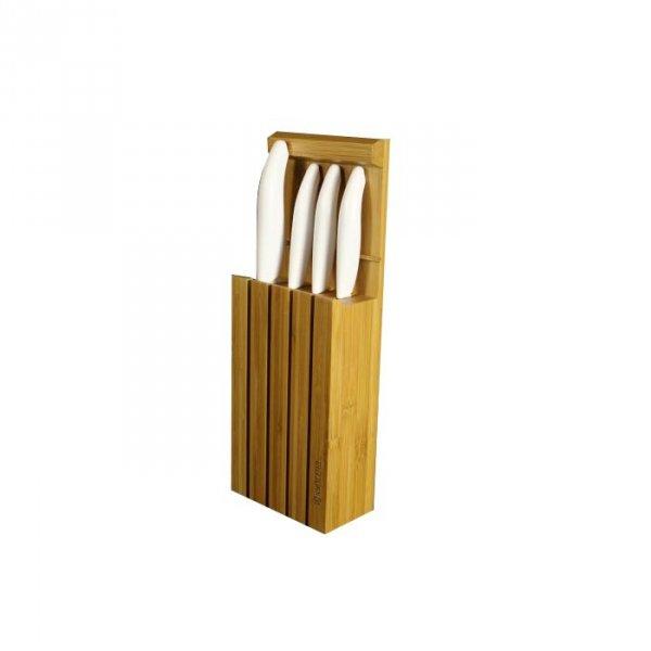 Kyocera Blok i zestaw 4 noży z jasnymi rączkami