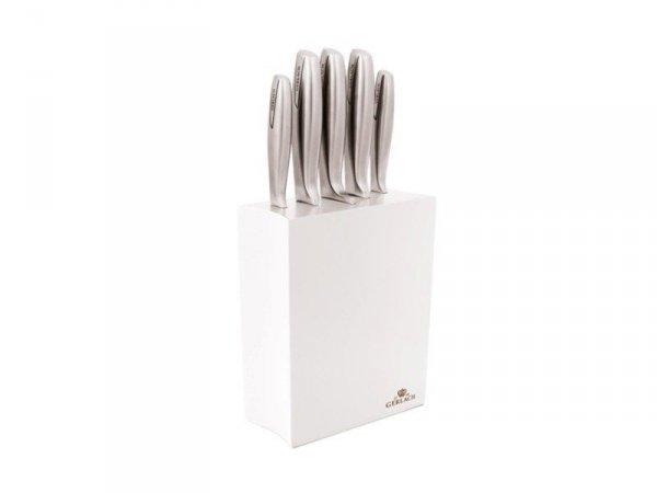 Gerlach 993 - zestaw 5 noży kuchennych w białym bloku + obieraczka i nożyk