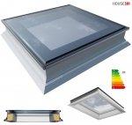 Okno dachowe Okpol PGX B1 do dachu płaskiego, nieotwierane, trzyszybowe, w kolorze białym PVC, Urc= 0,66 W/m2k