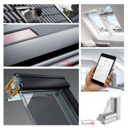 Okno Dachowe Velux INTEGRA GGU 006630 Uw = 1,0 Drewniano-poliuretanowe białe okno obrotowe solarne sterowane elektrycznie superenergooszczędne, szkło hartowane i laminowane P2A z pakietem wyciszania deszczu