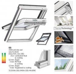Okno Dachowe Velux GGU 0066 Uw = 1,0 Drewniano-poliuretanowe białe okno obrotowe superenergooszczędne, szkło hartowane i laminowane P2A z pakietem wyciszania deszczu