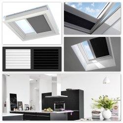 Velux Roleta Solarna FSK zaciemniająco-izolująca do okien do dachów płaskich o strukturze plastra miodu, zasilana energią słoneczną, biała lub czarna z radiowym przełącznikiem ściennym