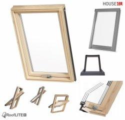 Promocja: Okno dachowe ROOFLITE TRIO PINE AAY B1500 78x118 / 78x140 trzyszybowe Uw=1,1 W/m²K, Superenergooszczędne, drewniane, Drewno sosnowe (FSC) RAL 7043 z kołnierzem do pokryć falistych ROOFLITE UFX