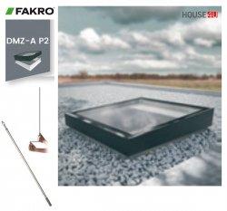 Fakro Okno do płaskiego dachu DMZ-A P2 U=0,95 W/m²K, otwierane manualnie za pomocą drążka ZSD, z elementem szklanym zgrzewanym, szyba z pochyleniem.
