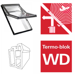 Okno dachowe Roto obrotowe Designo  R66E K200 Okno z pakietem 3-szybowym Acoustic, szkło laminowane, plastikowe Uw = 1,0 Termo-blok WD
