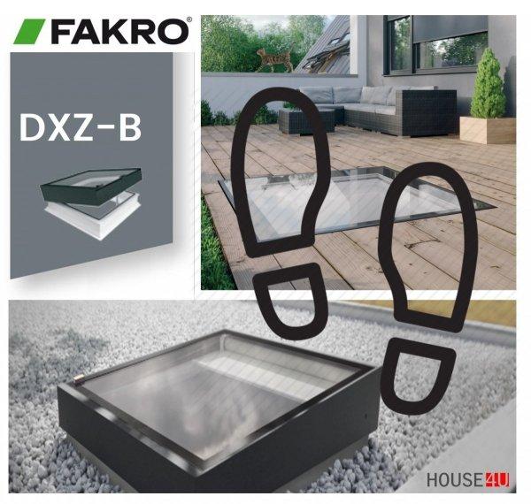 Fakro Okno do płaskiego dachu DXZ-B P2 U=,95 W/m²K, nieotwierane, z nitowanym segmentem szklanym, szyba z pochyleniem