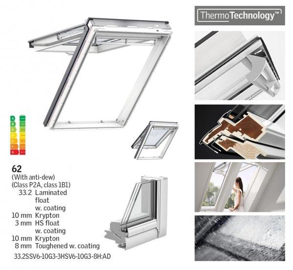 Okno Dachowe Velux GPU 0062 Uw = 0,96 Drewniano-poliuretanowe białe okno klapowo-obrotowe o dużym kącie otwarcia superenergooszczędne, szkło hartowane i laminowane P2A z pakietem świetnej redukcji hałasu