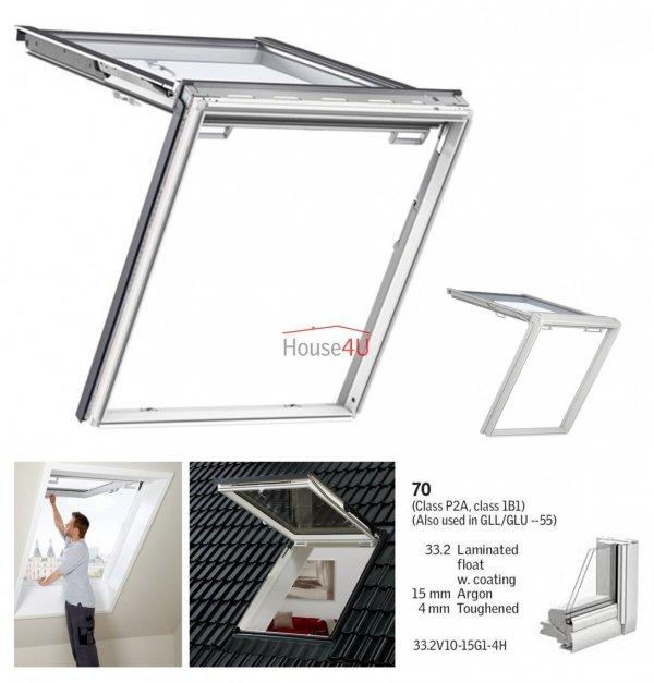Okno Dachowe Velux GTU 0070 Uw = 1,3 Drewniano-poliuretanowe białe okno klapowo-obrotowe do poddaszy i jednocześnie wyjście na dach, z szybą energooszczędną, hartowaną i laminowaną P2A