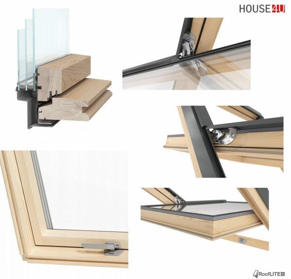 Promocja: Okno dachowe ROOFLITE TRIO PINE AAY B1500 78x118 / 78x140 trzyszybowe Uw=1,1 W/m²K, Superenergooszczędne, drewniane, Drewno sosnowe (FSC) RAL 7043 z kołnierzem do pokryć falistych ROOFLITE TFX