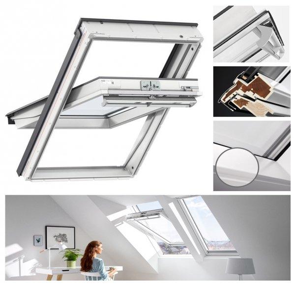 Okno Dachowe Velux GGU 0070 Uw = 1,3 Drewniano-poliuretanowe białe okno obrotowe z szybą energooszędną, hartowaną i laminowaną P2A