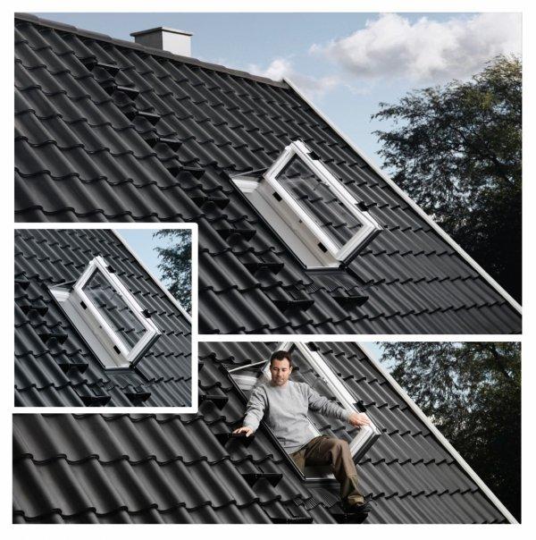 Okno Dachowe Velux GXU 0070 Uw = 1,3 Drewniano-poliuretanowe białe okno wyłazowe z szybą energooszczędną, hartowaną i laminowaną P2A