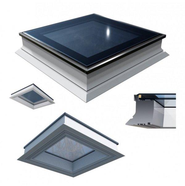 Okno dachowe Okpol PGX A1, okno stałe-nieotwierane,dwuszybowe, w kolorze białym z tworzywa sztucznego ,hartowana szyba zewnętrzna.