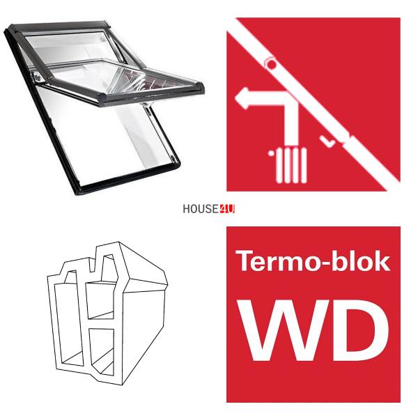 Okno dachowe Roto obrotowe Designo  R68C K200  Okno z pakietem 2-szybowym Comfort, szkło hartowane i laminowane, plastikowe Uw = 1,1, Termo-blok WD