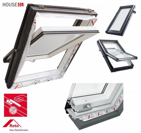 Okno Dachowe Roto Designo R49 K200 Okno obrotowe z pakietem 3-szybowym Standard Szkło hartowane Uw =1,1 plastikowe, termo blok WD