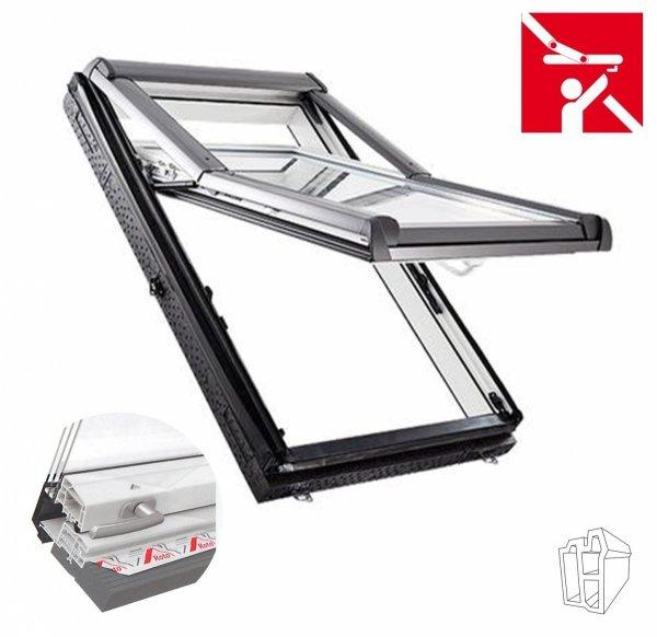 Okno Dachowe Roto Designo  R79 K200 Okno wysokościowe z pakietem 3-szybowym, folia  paraizolacyjna, Termo- blok WD, Plastikowe