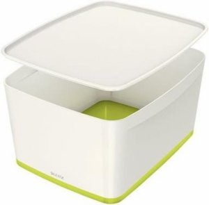 Pojemnik MyBox duży z pokrywką, biało-zielony 52161054