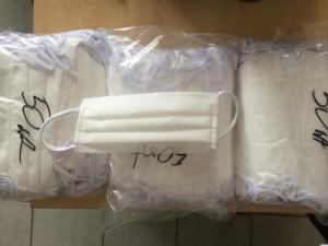 Maseczki ochronne fizelina 3-warstwy 3x35g 50szt Certyfikat OEKO-TEX